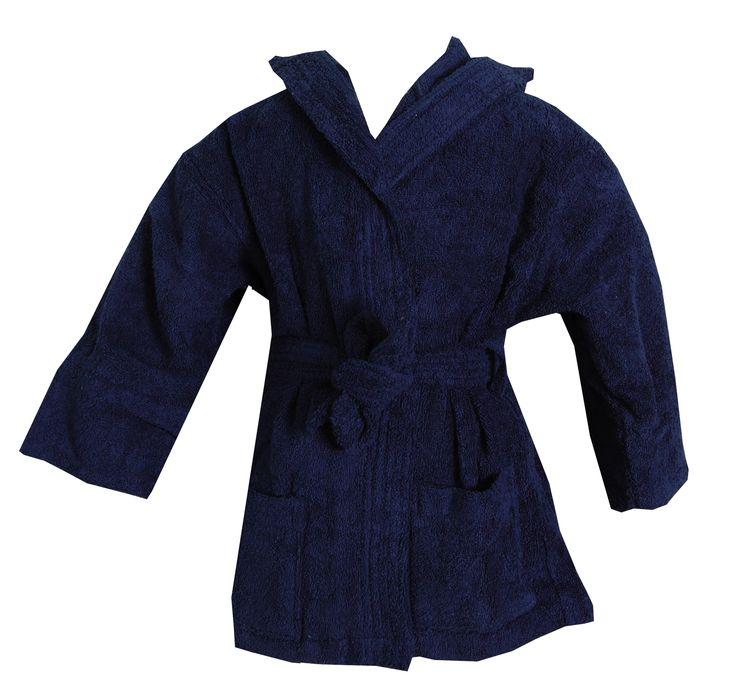 Turkish Kids Hooded Terrycloth Blue Robe #bathrobeshoppe www.bathrobeshoppe.com