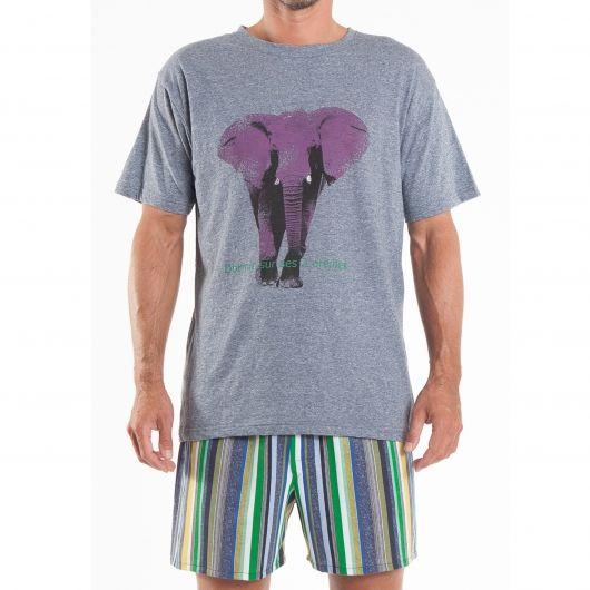 Pyjama Arthur bleu moucheté à motif éléphant