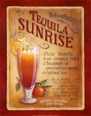 Tequila drink recipes: Kitchens Poster, Summer Drinks Recipe, Alcohol Drinks, The Eagles, Tequila Sunrises Recipe, Tequila Sunri Recipe, Tequila Drinks, Adult Beverage, Lisa Audit