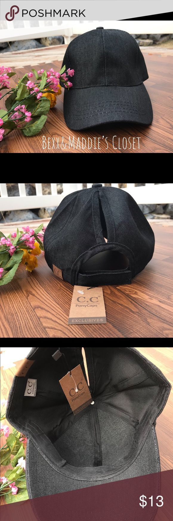 ☀️NWT Ladies dark denim trucker pony cap Fun and perfect for lazy days of summer! Do a messy bun or messy pony. It's a dark denim color. From