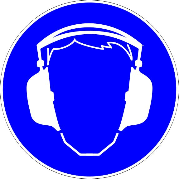 Mandatory Action Safety Signs: Ear Protection Required Sign
