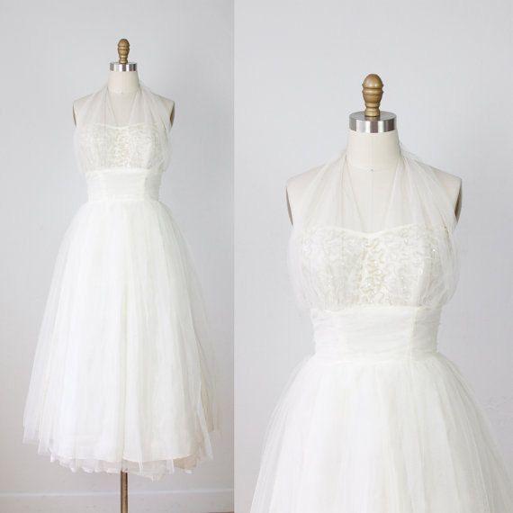 1950s Tulle Sequin Halter Wedding Cream Dress VIntage. $450.00, via Etsy.