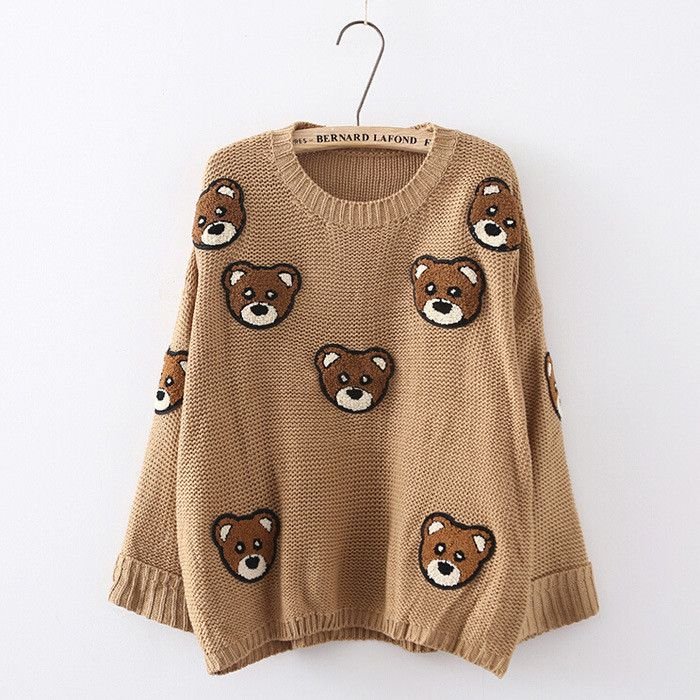 Bear Print Scoop Pullover Loose Knit Sweater