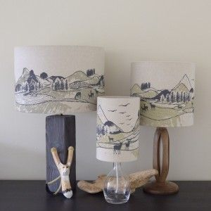 In The Mountains linen lampshades