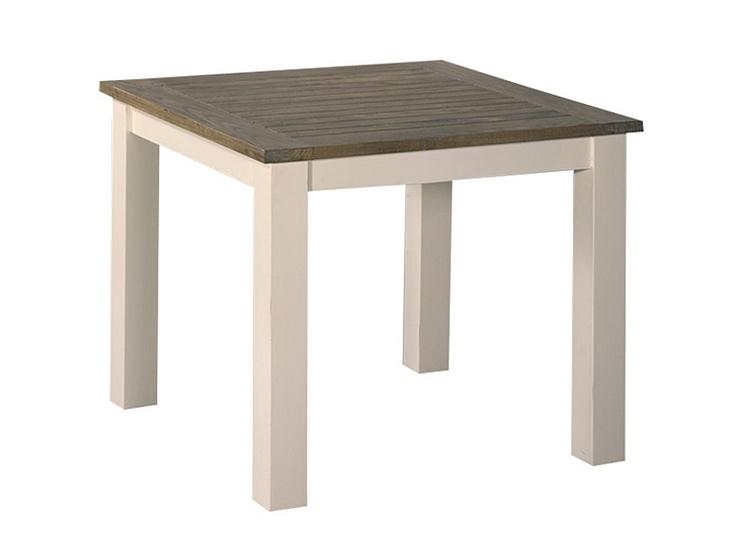 Mesa de comedor vintage cuadrada. Medidas: 90x90xH78 Realizada en madera de teca con acabado en color blanco roto y la tapa en color natural.