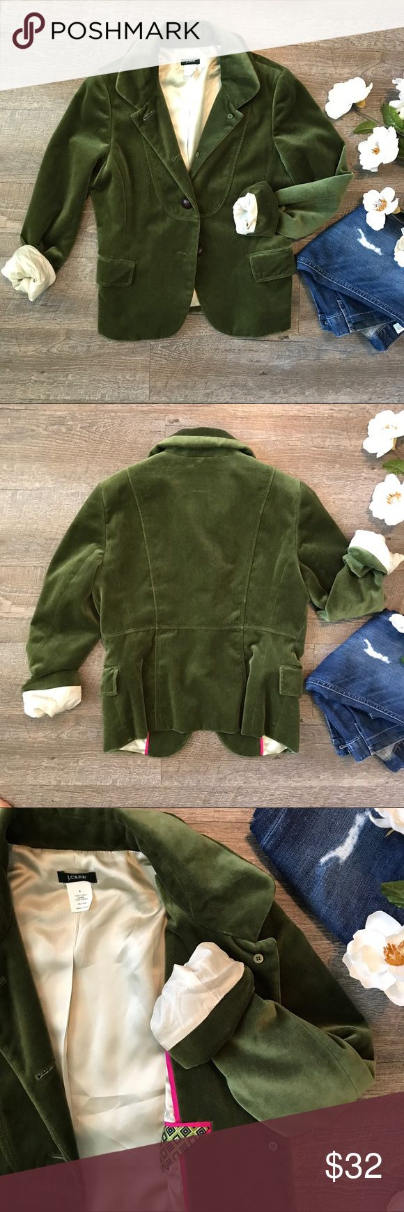 Green Suede J.Crew Blazer Jacket Fun green suede J.Crew Blazer! 100% cotton, lining: acetate. In great condition. A couple of scuffs on the side but may come out if dry-cleaned. Size 6. See images for measurements. J. Crew Jackets & Coats Blazers