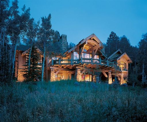 Kelsey Grammar's Colorado House - The back view. So warm and inviting!