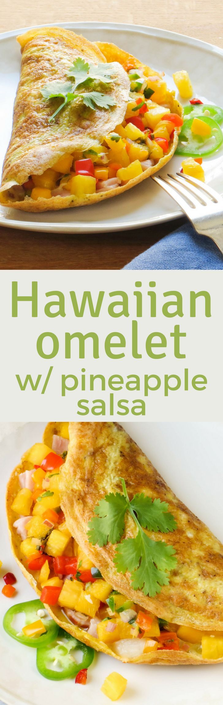 Need a healthy, light breakfast option? This Hawaiian Omelet recipe is loaded with ham, cheese and pineapple mango salsa for a tropical flavor. A delicious, high protein, low-carb alternative to yogurt and granola. #eggs #ham #canadianbacon #mozzarella #partskimmozzarella #breakfast #brunch #healthybreakfast #lowcarb #highproteinbreakfast #highprotein #pineapple #mango #salsa #fruitsalsa #tropicalfruitsalsa #omelettes #omelet #fastbreakfast