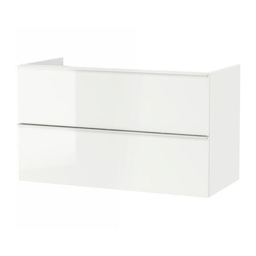 GODMORGON Sink cabinet with 2 drawers, high gloss white high gloss white 39 3/8x18 1/2x22 7/8