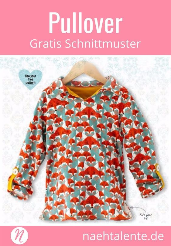 Freebook Kinderpullover für 2 - 9 Jahre. PDF-Schnittmuster zum Drucken. Mit ausführlicher Nähanleitung ✂️ Nähtalente - Das Magazin für Hobbyschneider/innen ✂️ Free sewing pattern for a kids tunic für 2 - 9 years. PDF pattern for print at home. With sewing photo-tutorial. #nähen #freebook #schnittmuster #gratis #nähenmachtglücklich #freesewingpattern #handmade #diy