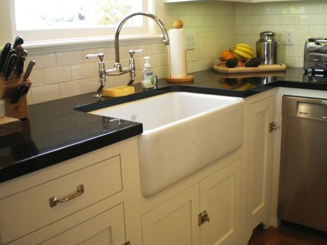 Traditional Kitchen Remodeling With Farmhouse Style Under Mount Sinks,  Gloss Black Laminate Countertops, And Part 65