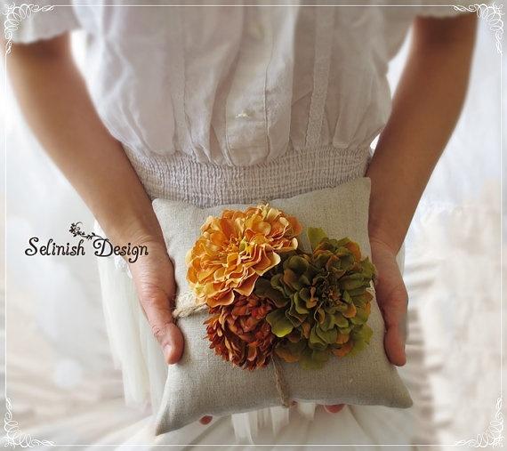 Burlap Ring Bearer Pillow Vintage Wedding Ring by SelinishDesign, $36.50