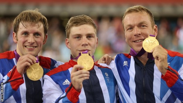 Jason Kenny, Philip Hindes and Sir Chris Hoy Gold in the Men's Team Sprint setting a new world record too