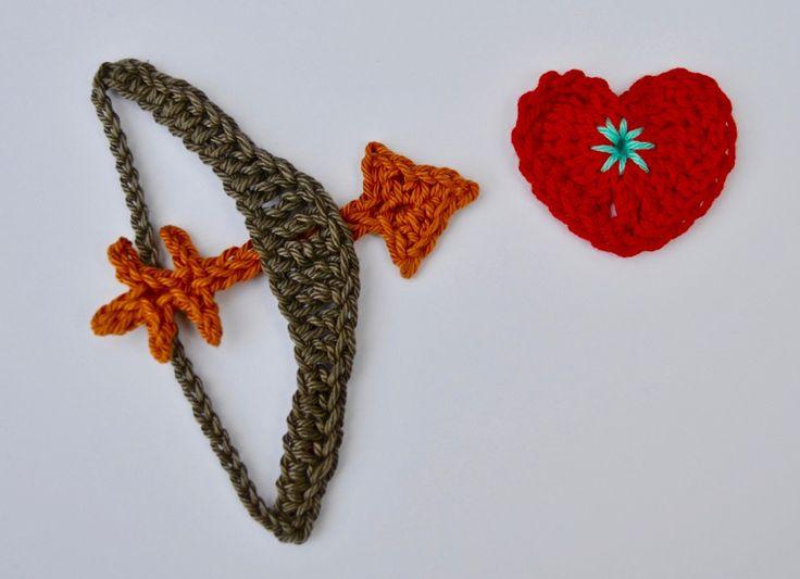 Gratis patroon voor een hartje en een pijl en een boog voor Valentijn