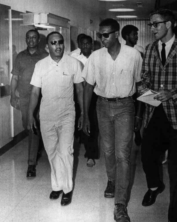 Civil rights leaders, Floyd McKissick, left, of the Congress of Racial Equality, Dr. Martin Luther King, center, and Stokely Carmichael of the Student Non-Violent Coordinating Committee, arrive at William F. Bowld Hospital for a visit with James Meredith in 1966....