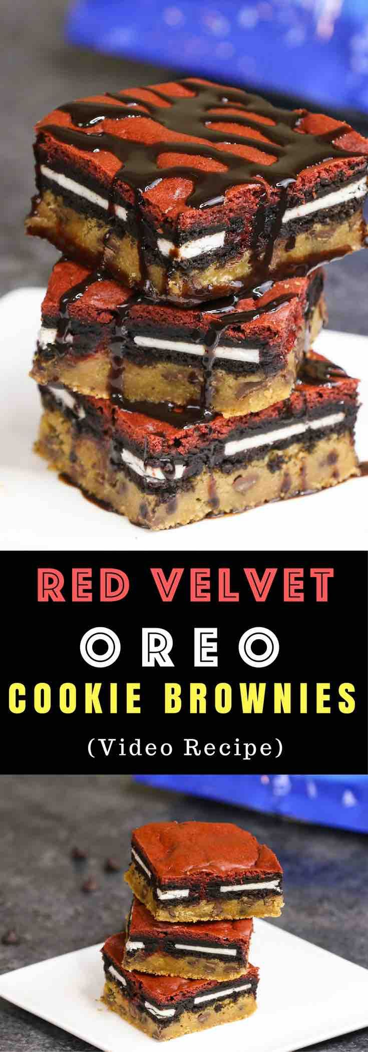 Satisfy your most decadent dessert cravings with these red velvet slutty brownies, a mouthwatering combination of red velvet cake, oreos and cookie dough!