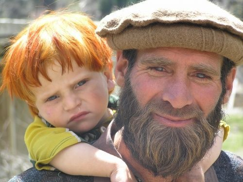 Asia: Nuristan man and child, Afghanistan. Nuristan (land of the light) used to be called Kafiristan (Land of the Infidels). Nuristan people practiced Vedic religion before they were forced to embrance Islam under Emir Abdul Rahman Khan in 19th century. Nuristan people are related to Aryan Kalash people of North Western Pakistan.