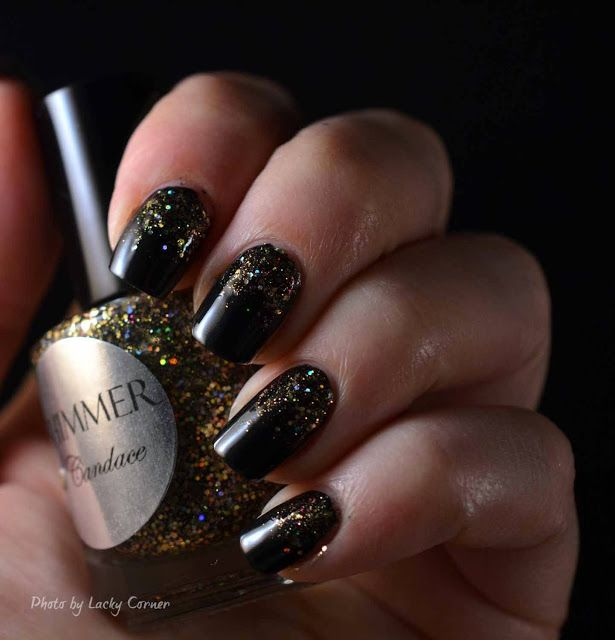 Lacky Corner: Shimmer Polish - Candace over black creme.
