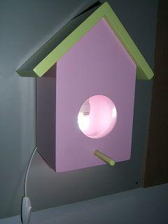 Criação de acessórios de mobiliário para quartos de criança - Decoração e restauro de móveis Candeeiro Cazinha pássaros