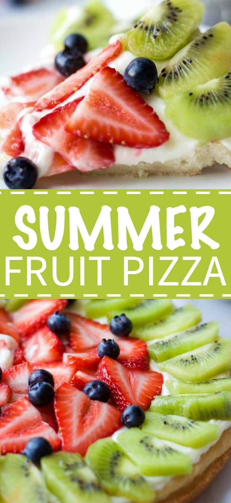 Summer Fruit Pizza featuring a chewy sugar cookie, sweet and tangy cream cheese frosting and fresh summer fruit including strawberries, kiwi and blueberries.