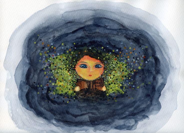 The magical world of books #watercolour #books #magic