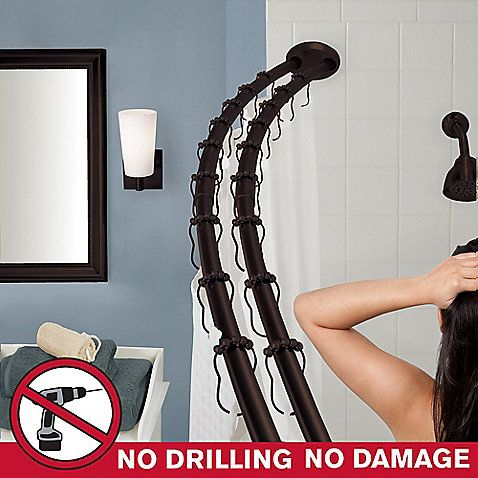 Old World Bronze   The Gripper™ Double Curved Shower Rod 70