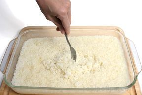 Baking is a method that is not often considered for preparing rice, but when you are using the oven to prepare dishes to accompany rice, why not bake the rice in the oven as well?  This method produces excellent results.