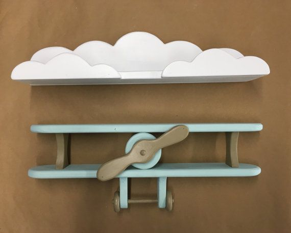 Baby Blue and Brown Handcrafted Wooden Airplane and White Cloud Shelf Combo Adorable to hang in a nursery, childs room or playroom.