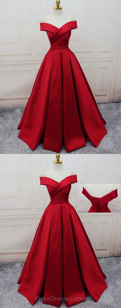 Red Prom Dresses Off-the-shoulder, Ball Gown Party Dresses Satin, Sweep Train Sashes / Ribbons Formal Dresses Gorgeous