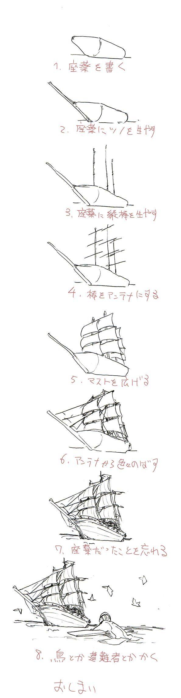 やる気の低下が著しいので誰にでも描ける帆船の描きかたなどを描いてお茶にごす