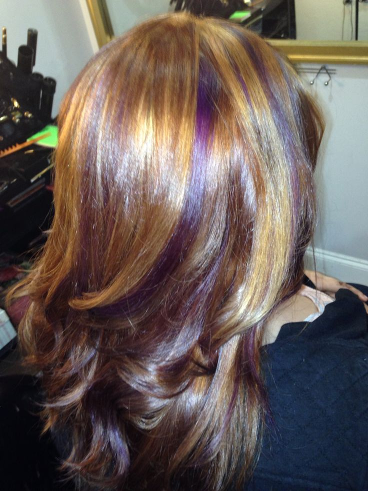 Brown Hair With Blonde And Purple Highlights Hair