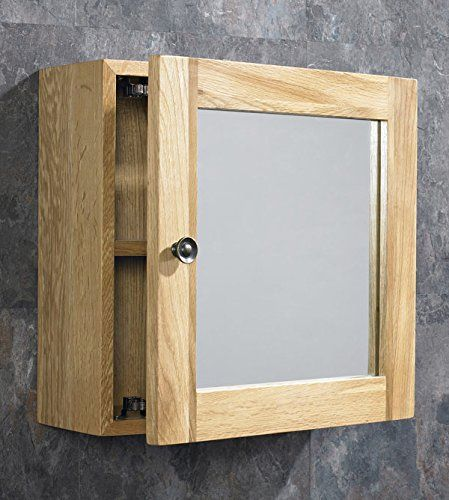 Clickbasin Solid Oak Wall Mounted Single Door Bathroom Mirror Cabinet