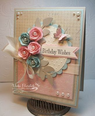 It's a Stamp Thing - such a pretty color combo.  Sahara Sand, Pink Pirouette and soft sky