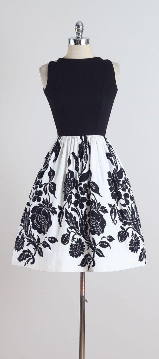 Night Bloom . vintage 1950s dress . vintage dress . 5181