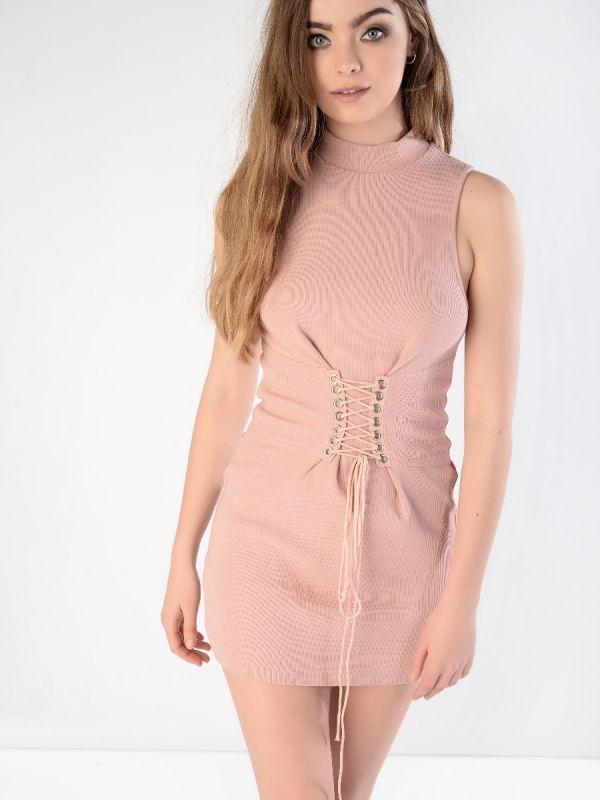 Pink corset detail dress