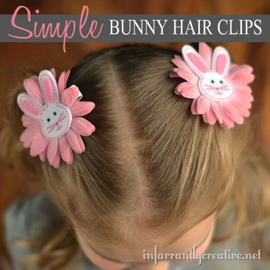 DIY bunny hair clips. (You could use any animal). Great for a girl shoe box gift!