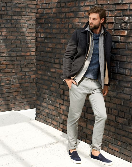 J.Crew men's skiff jacket, Wallace & Barnes shirt, marled sweater, 484 broken-in chino pant, and Vans suede slip-on shoes.