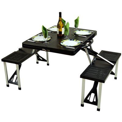 Outdoor Picnic at Ascot Foldable Picnic Table Set Black - 247-BLK