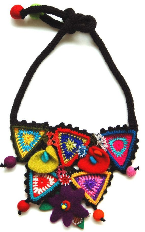 Multicolor necklace with crocheted triangles by StudioKarma