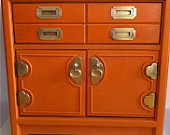 Night Stand Stands Out! Orange painted furniture makes a great focal point.