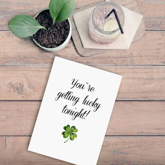 Good Luck Card,Naughty Card,St. Patrick's Day Card,St Patricks Day Gift,4 Leaf Clover,Card For Boyfriend,Card For Him,Flirty Greeting Card