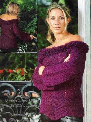 .:: Pontos da Ana ::.: Blusa vinho em crochê ripple ou zigue-zague