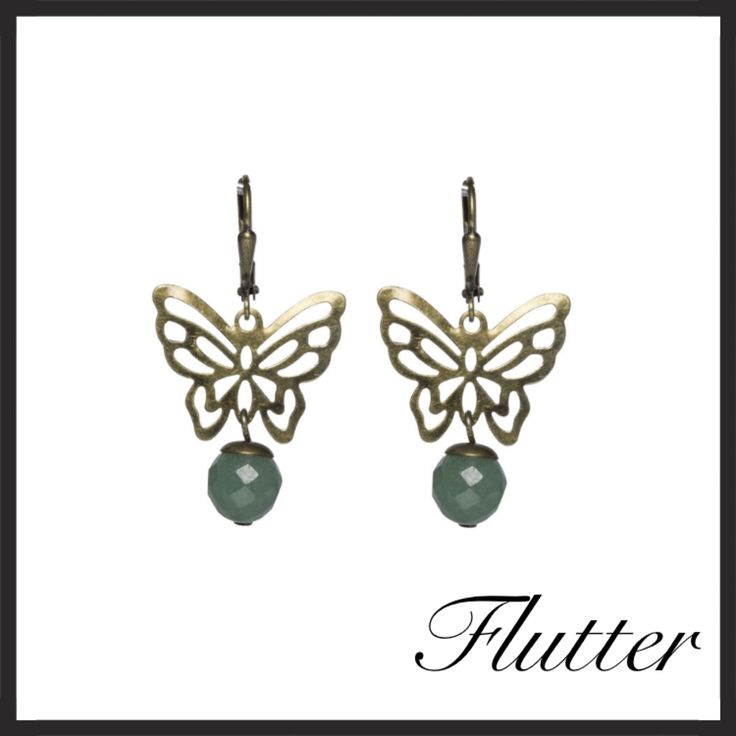 Green Aventurine and antiqued gold earrings.