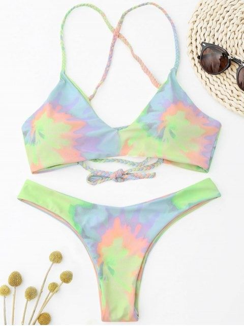 1222781bd4 Shop for 2018 Tie Dye Braided Criss Cross Bikini Set in LIGHT YELLOW S of  Bikinis and check 10000+ hottest styles at ZAFUL.