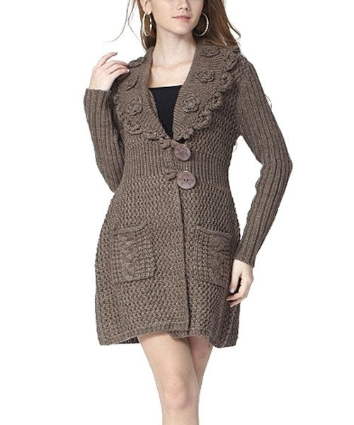Look at this Simply Couture Mocha Rosette Wool-Blend Cardigan on #zulily today!