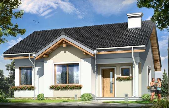 Projekt Cypisek to propozycja niewielkiego domku jednorodzinnego dla 3-4osobowej rodziny. Cypisek to dom o prostokątnej bryle, przekrytej dwuspadowym, symetrycznym dachem. Prostą bryłę ozdobiono ciekawymi detalami, jak zadaszony wykusz kuchenny, narożny podcień wejściowy z kolumienką, narożne okna sypialni, czy podcień ogrodowy nad tarasem.