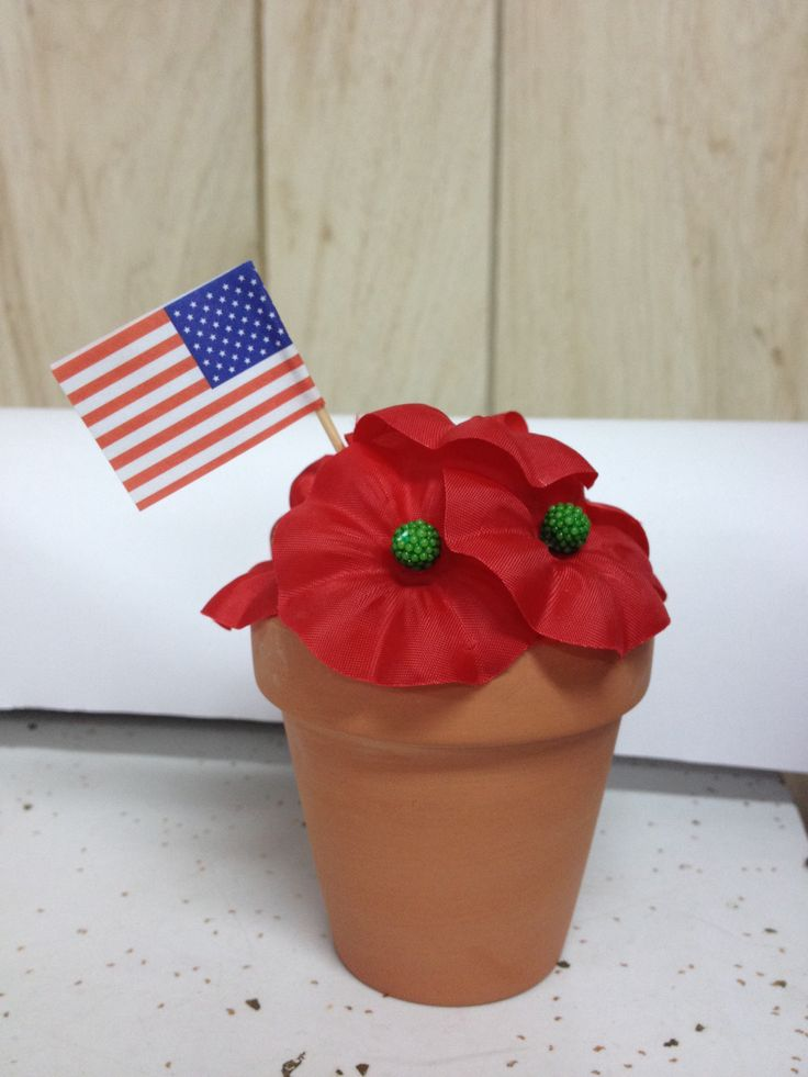 Make 3 of these cute little suckers for only $3. Tiny clay pots: 3/$1 at Dollar Tree, foam balls: bag of different sizes $1, flag cupcake toppers: $1 or so, and of course Buddy Poppies, plus a little hot glue! @Ladies Auxiliary VFW