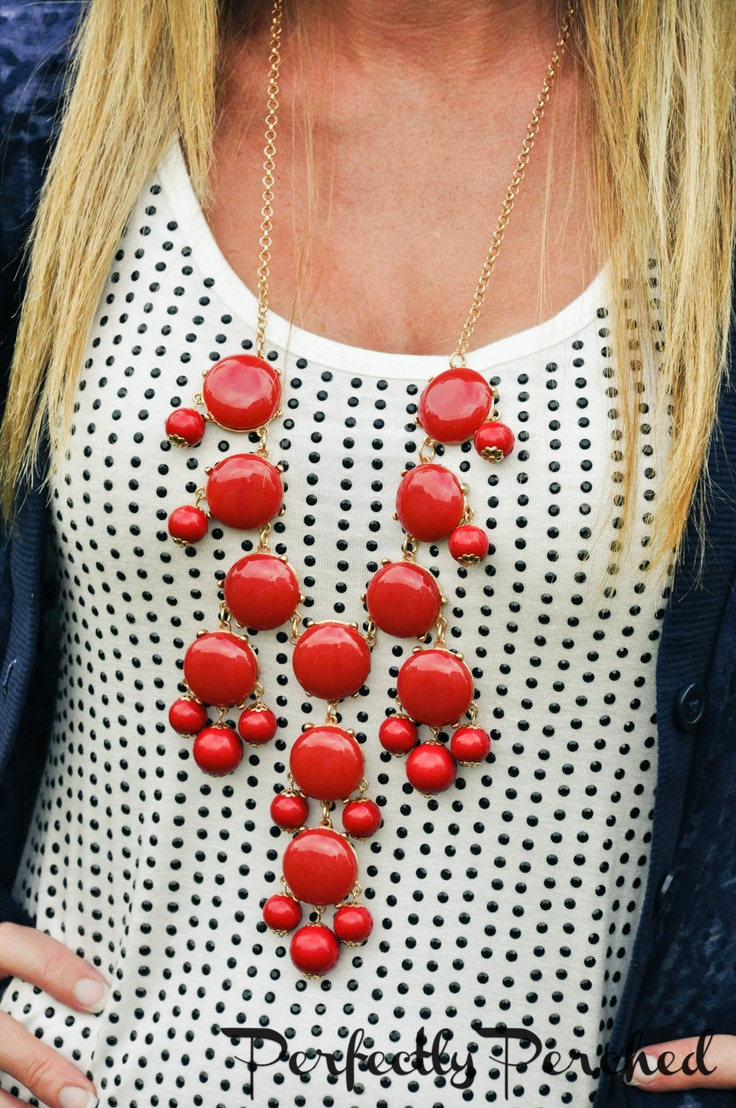 Cherry Red Bubble Bib Statement Necklace. The perfect accessory does the work of a complete outfit for a quarter of the packing space. #holtspintowin