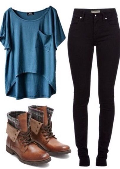 Blue Pocket T-Shirt, Black Jeans, and Light Brown Combat Boots