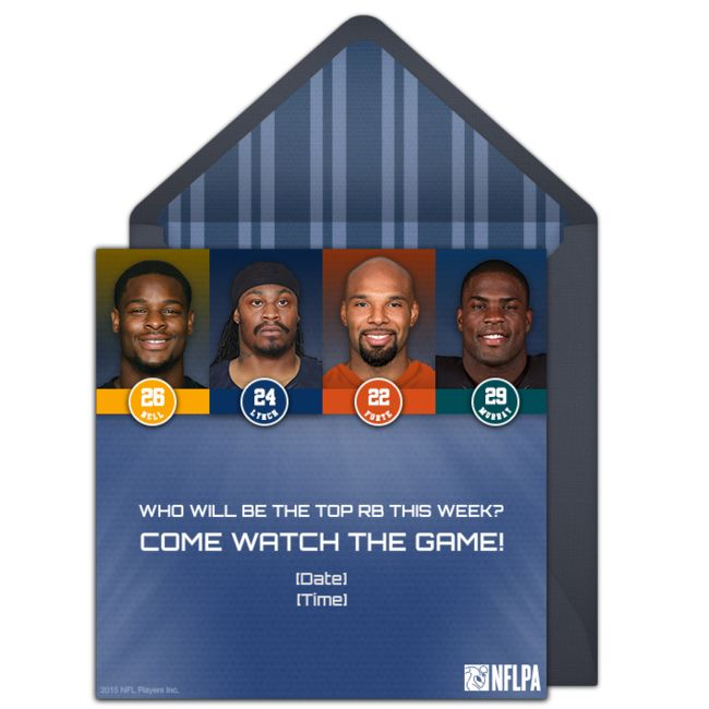 Football party invitations featuring your favorite NFL Players. Check out this one featuring top running backs! Personalize and send via email.